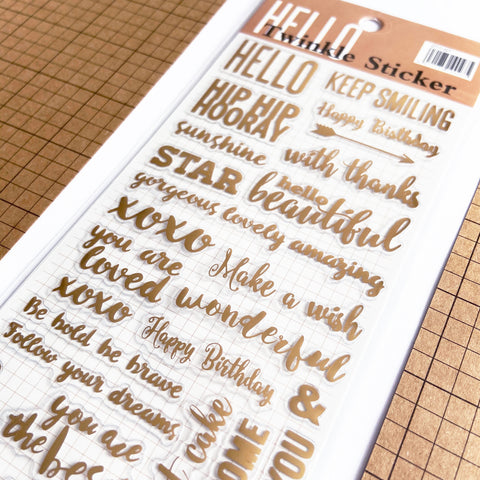 Gold Foil Sentiments Slogan Sticker Set - SweetpeaStore