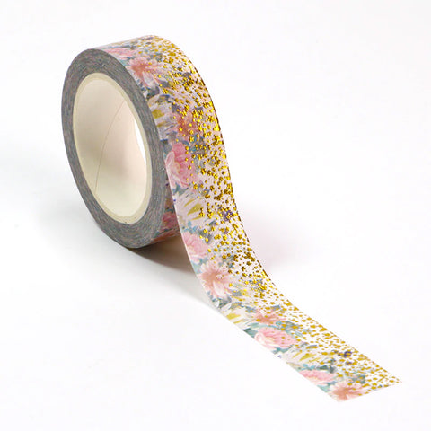 Gold Foil Pink Floral Washi Tape - 15mm x 10m - SweetpeaStore