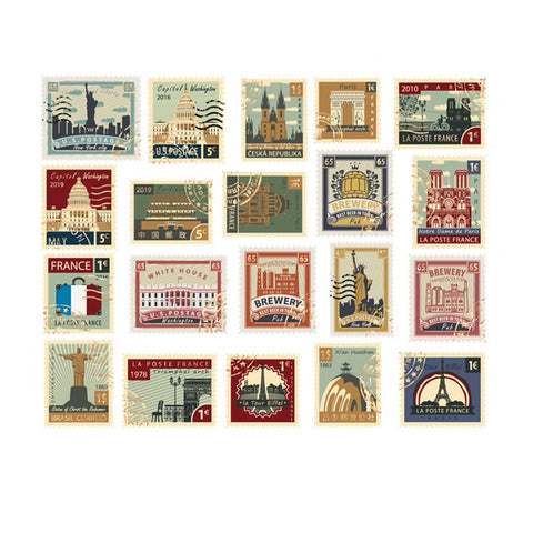 40 Vintage Travel Stamp Gold Foiled Sticker Set