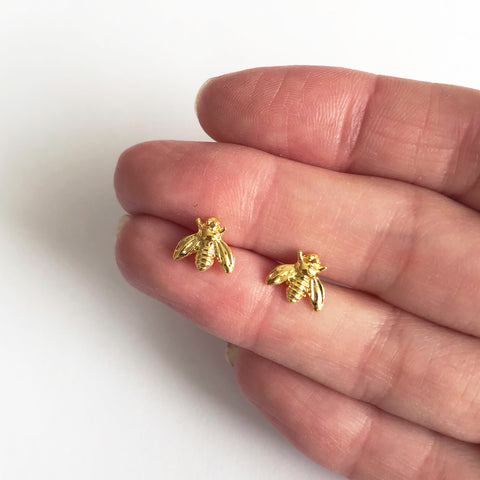 Cute Mini Bumble Bee Gold Stud Earrings - SweetpeaStore