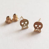 Brushed Gold Plated Mini Skull Stud Earrings - SweetpeaStore