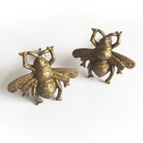 Set of 2 Sass and Belle Vintage Brass Golden Bee Drawer Knobs - SweetpeaStore