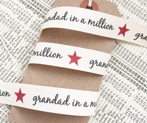 Grandad in a Million 15mm Cream Ribbon - SweetpeaStore