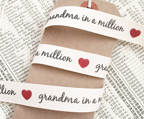 Grandma in a Million 15mm Cream Ribbon - SweetpeaStore