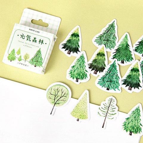 Set of 45 Green Tree Watercolour Mini Box Stickers - SweetpeaStore