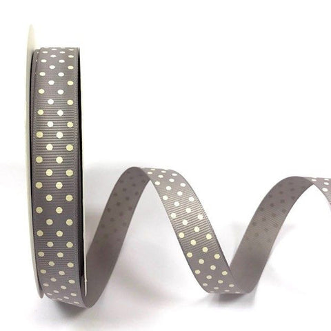 16mm Grey & Ivory Polka Dot Spot Grosgrain Ribbon - SweetpeaStore