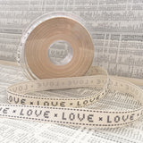 15mm Grey & Cream Love Cross Stitch Ribbon - SweetpeaStore