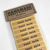 60 Rustic Brown Kraft Paper Hand Made Stickers - SweetpeaStore