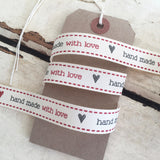 15mm Hand Made with Love Red & Black Cream Ribbon - SweetpeaStore