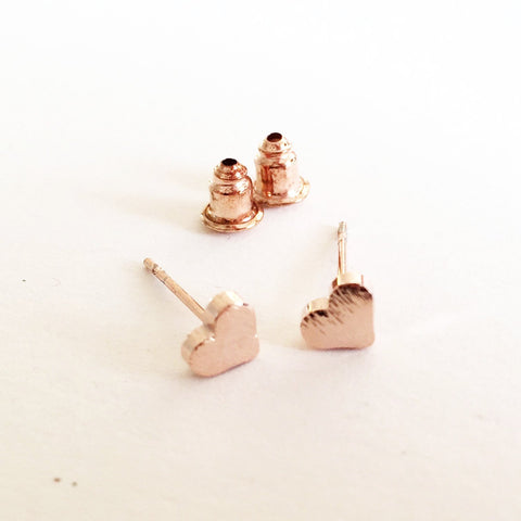 Brushed Rose Gold Little Heart Stud Earrings - SweetpeaStore