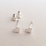 Brushed Silver Little Heart Stud Earrings - SweetpeaStore