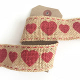 38mm Hessian Jute Burlap Red Heart Ribbon - SweetpeaStore