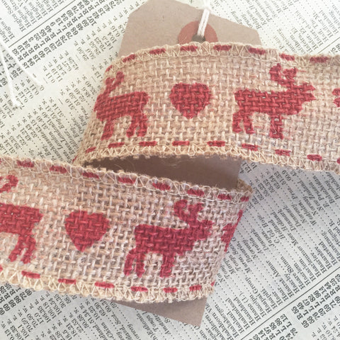 38mm Hessian Red Reindeer Stag & Heart Ribbon - SweetpeaStore