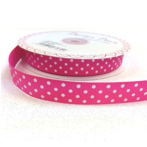 16mm Hot Pink & White Polka Dot Spot Grosgrain Ribbon - SweetpeaStore