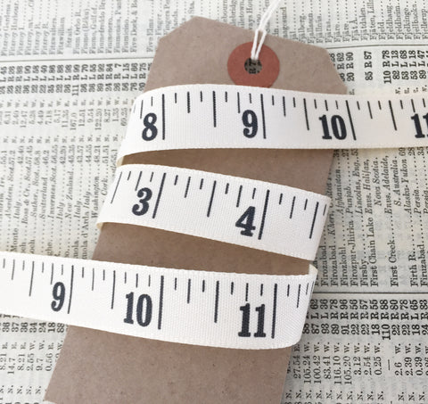 Inch Printed Cream Tape Measure Ribbon 15mm - SweetpeaStore