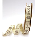 "15mm Ivory Cotton Ribbon with Grey ""Joyeux Noel"" & Snowflake Christmas Print - SweetpeaStore"