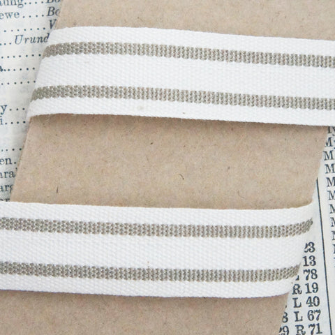 15mm Soft Khaki Green & Cream Ticking Stripe Cotton Ribbon - SweetpeaStore