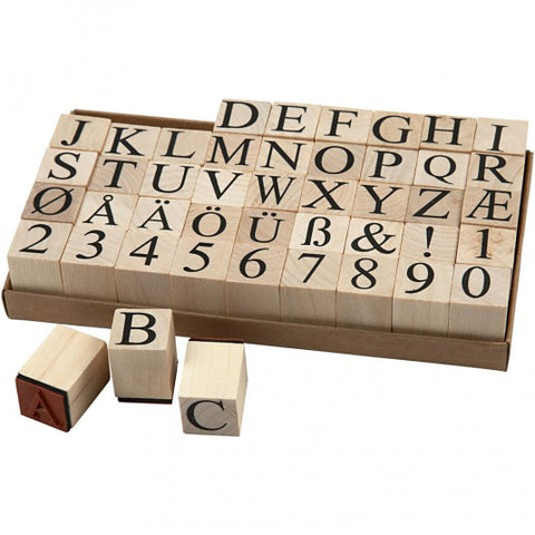 Large Wooden Alphabet Rubber Stamp Kit - SweetpeaStore