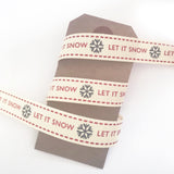 15mm Let it Snow Snowflake Red & Grey Cream Christmas Ribbon - SweetpeaStore