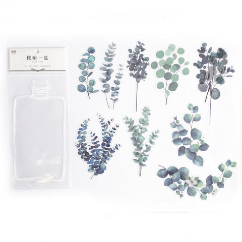 Eucalyptus Leaf Plant Clear Transparent Peel-Off Sticker Set - SweetpeaStore