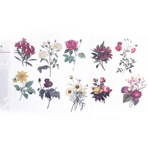 Pretty Floral Clear Transparent Peel-Off Sticker Set - SweetpeaStore