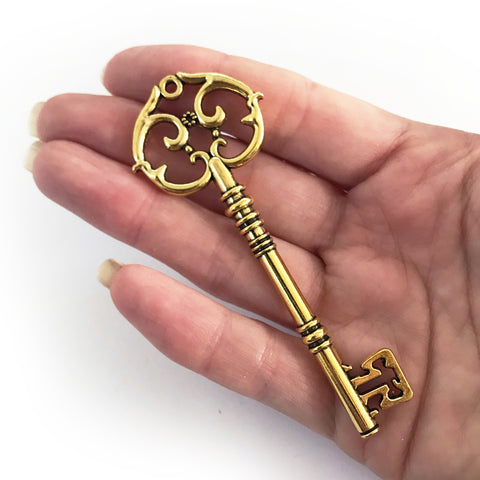 Large Vintage Style Ornate Steampunk Bright Gold Key Charm - SweetpeaStore