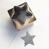 Linear Geometric Star Wooden Rubber Printing Stamp - SweetpeaStore