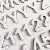 3D Alphabet & Number Stickers - White Matt - SweetpeaStore