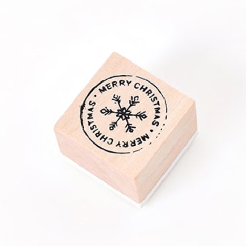 Christmas Wooden Rubber Printing Stamp - Merry Christmas & Snowflake - Tags Wrap - SweetpeaStore