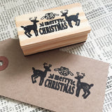Merry Christmas Stag Wooden Rubber Stamp - SweetpeaStore