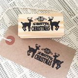 Merry Christmas Stag & Bells Wooden Rubber Stamp - SweetpeaStore