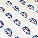 35 Miss You! Rainbow Peel-off Stickers - White Gloss Paper - 37mm - SweetpeaStore