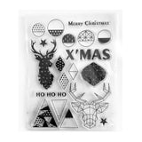 Christmas Clear Stamps - Modernist Geometric Reindeer Star Set - 12cm x 16cm - SweetpeaStore
