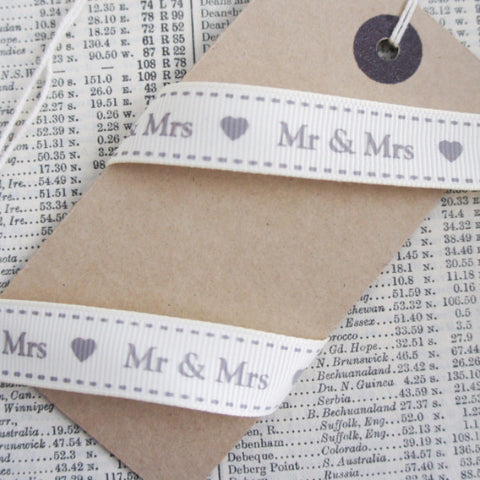 16mm Cream Ivory Wedding Mr & Mrs Ribbon - SweetpeaStore