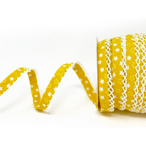 12mm Mustard Yellow & White Star Print Pre-Folded Bias Binding with Pique Lace Edge Trim - SweetpeaStore