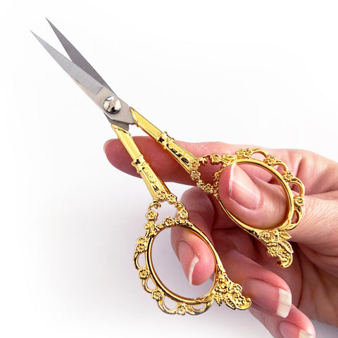 Pretty Bright Gold Embroidery Vintage Style Floral Scissors - SweetpeaStore