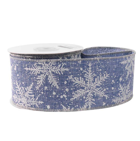 63mm x 10 yard Roll Wired Christmas Luxury Christmas Blue & White Snowflake Jute Ribbon - SweetpeaStore