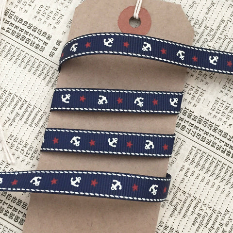 9mm Navy Nautical Grosgrain Ribbon with Cream Anchor Red Star - SweetpeaStore