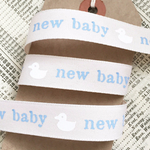 Cream & Blue New Baby Boy 15mm Ribbon - SweetpeaStore