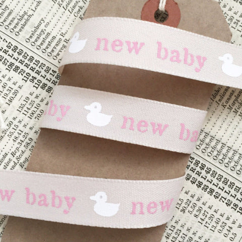 Cream & Pink New Baby Girl 15mm Ribbon - SweetpeaStore
