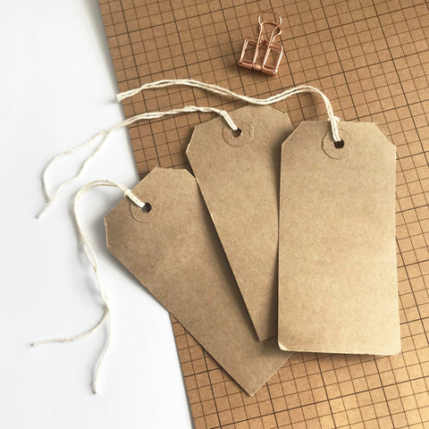 20 Vintage-Inspired Brown Kraft Card Luggage Tags 108mm x 54mm - SweetpeaStore