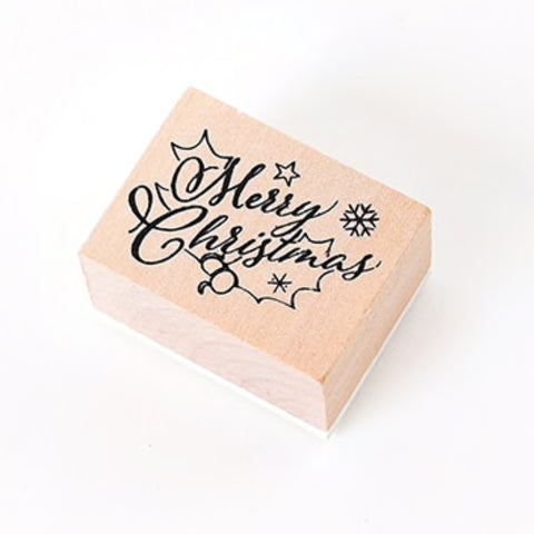 Christmas Wooden Rubber Printing Stamp - Merry Christmas & Snowflake Star Design - SweetpeaStore