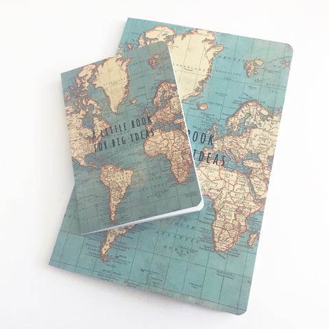 Set of 2 Sass & Belle Vintage World Map Notebooks - SweetpeaStore