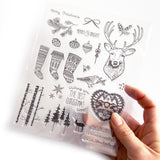 Christmas Clear Stamps - Nordic Stag Stockings Bauble Bird Set - 15cm x 18cm - SweetpeaStore