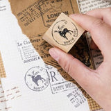 Christmas Wooden Rubber Printing Stamp - Stag Reindeer North Pole - Cards Tags - SweetpeaStore