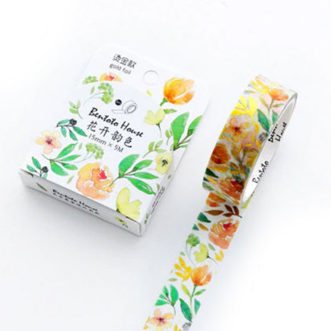 Foiled Metallic Gold Orange Yellow Flower Washi Paper Tape - 15mm x 5m - SweetpeaStore