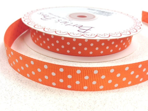 16mm Bright Orange & White Polka Dot Spot Grosgrain Ribbon - SweetpeaStore