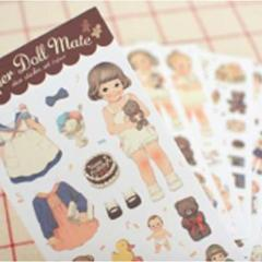 Dolly Girl Paper Doll Mate Dress Up Stickers - Paper - Design 1 - SweetpeaStore