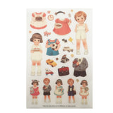 Dolly Girl PAPER DOLL MATE Dress Up Stickers Kawaii Vintage - Design 2 - Plastic - SweetpeaStore