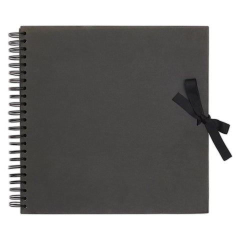 "12"" x 12"" Scrapbook Album Journal Sketchbook - Black - Spiral Bound - SweetpeaStore"